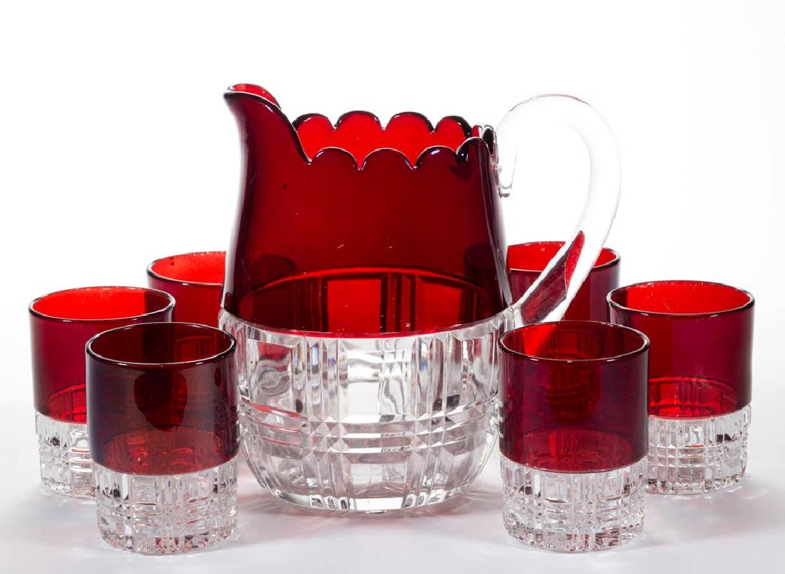 CO-OP BLOCK - RUBY-STAINED SEVEN-PIECE WATER SET