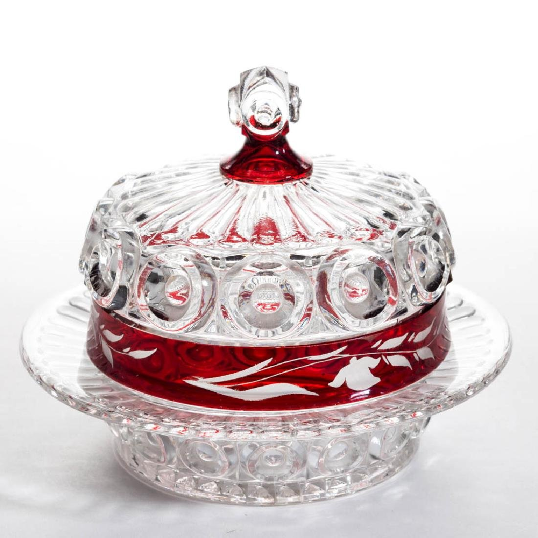 CO-OP'S ROYAL - RUBY-STAINED COVERED BUTTER DISH