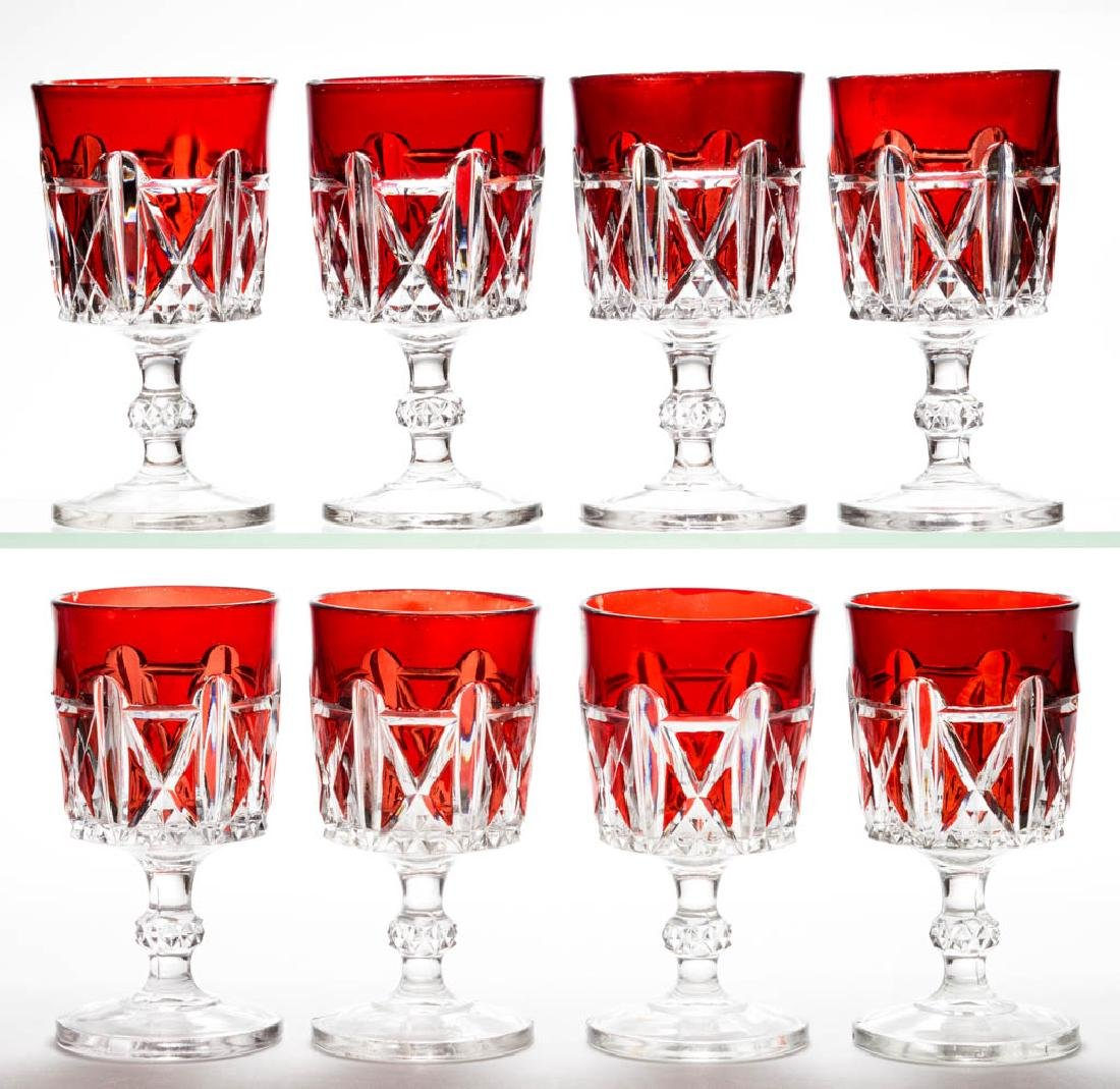 DOYLE NO. 76 / TRIPLE TRIANGLE - RUBY-STAINED GOBLETS,