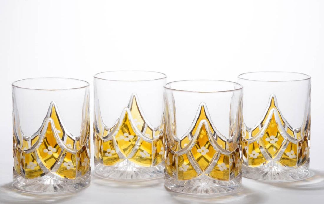 DUNCAN NO. 326 / SWAG BLOCK - AMBER-STAINED TUMBLERS,