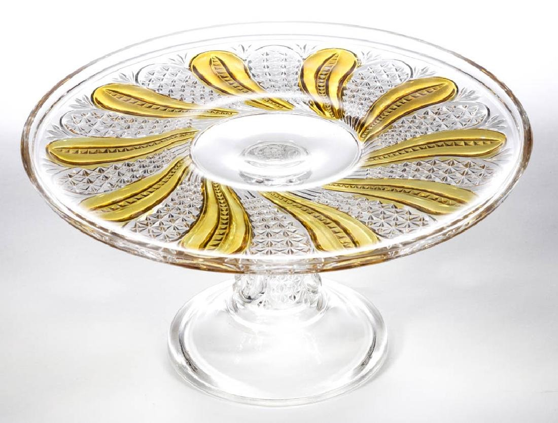 FEATHER / DORIC - AMBER-STAINED SALVER / CAKE STAND