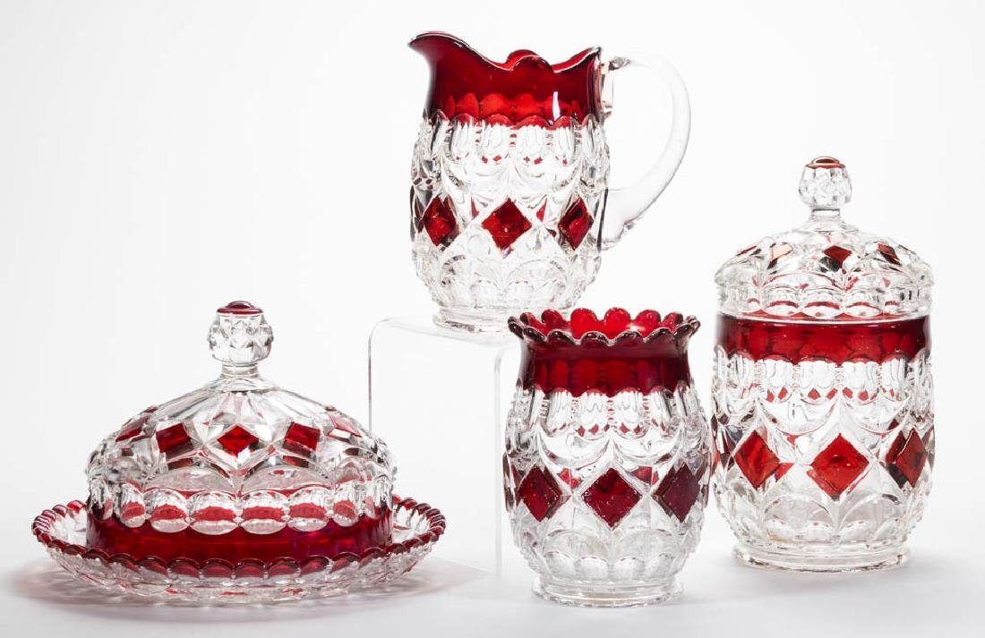 LOOP AND BLOCK - RUBY-STAINED FOUR-PIECE TABLE SET