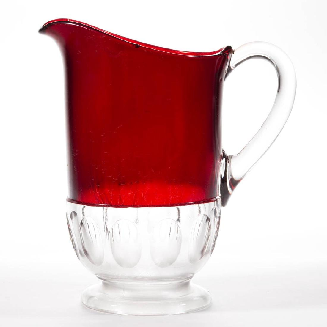 MCKEE CELTIC - RUBY-STAINED WATER PITCHER