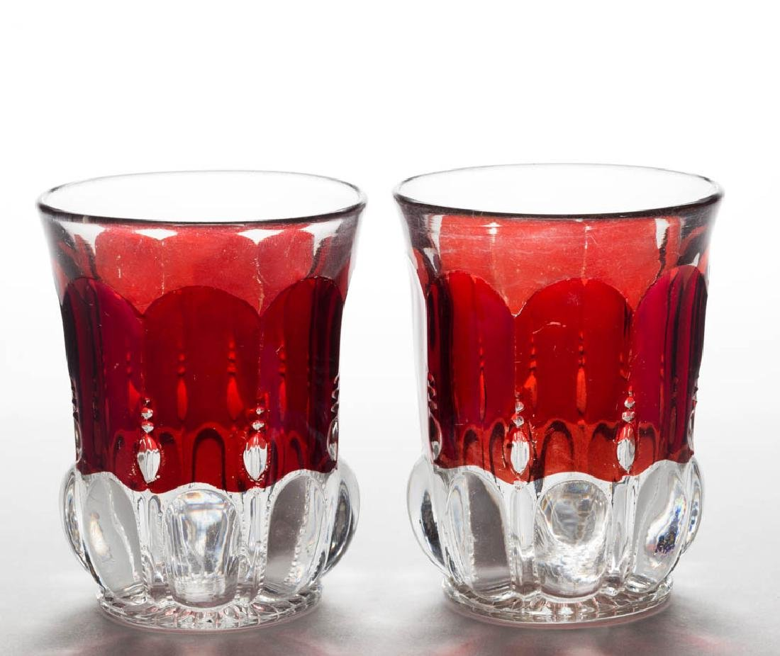 MICHIGAN / LOOP AND PILLAR - RUBY-STAINED TUMBLERS,