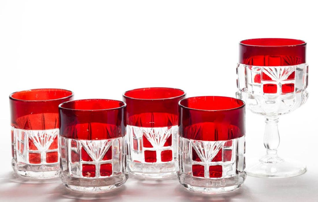 OREGON / SKILTON - RUBY-STAINED DRINKING ARTICLES, LOT