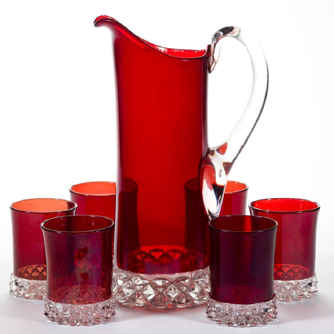 PAVONIA - RUBY-STAINED SEVEN-PIECE WATER SET