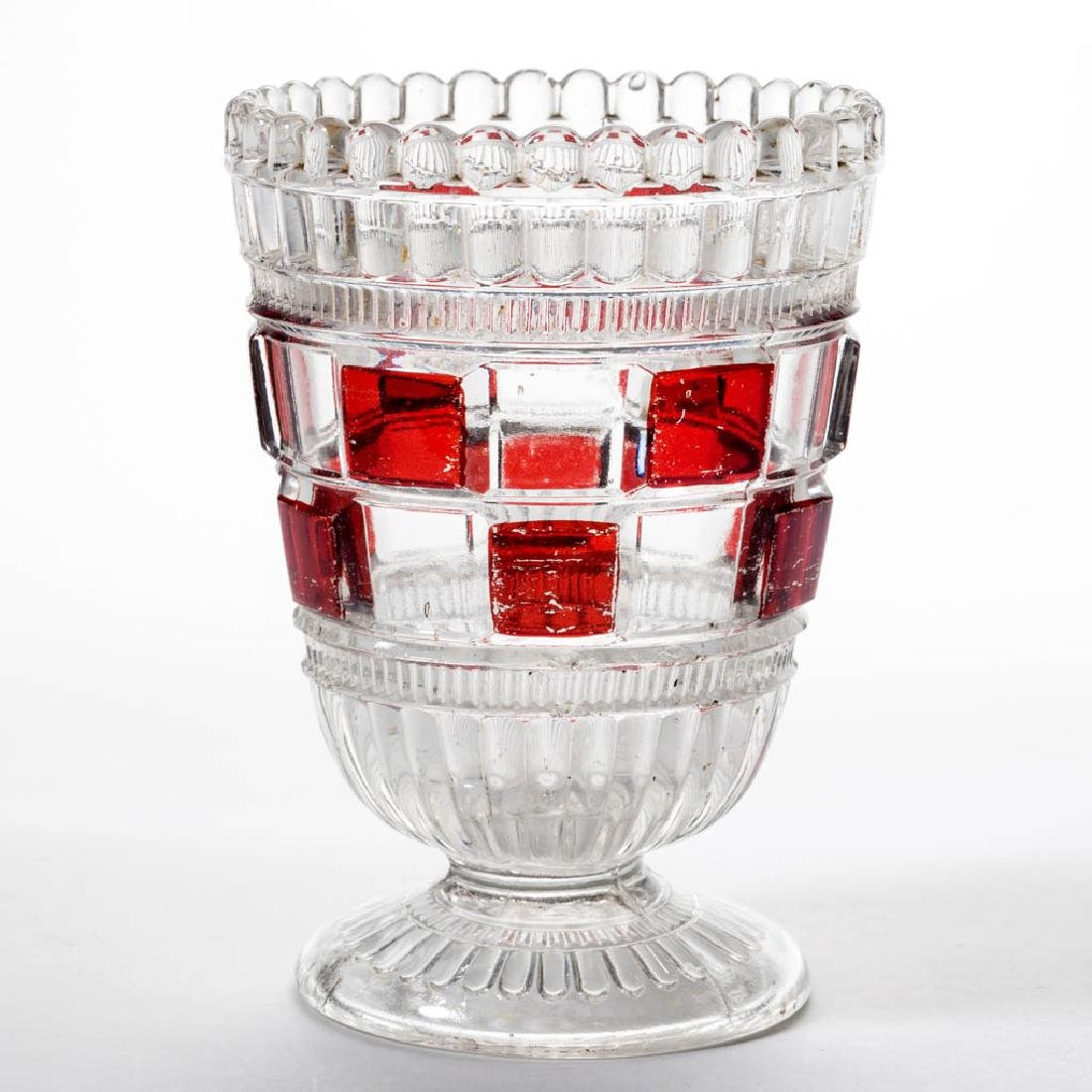 PERSIAN / BLOCK AND PLEAT - RUBY-STAINED SPOONER