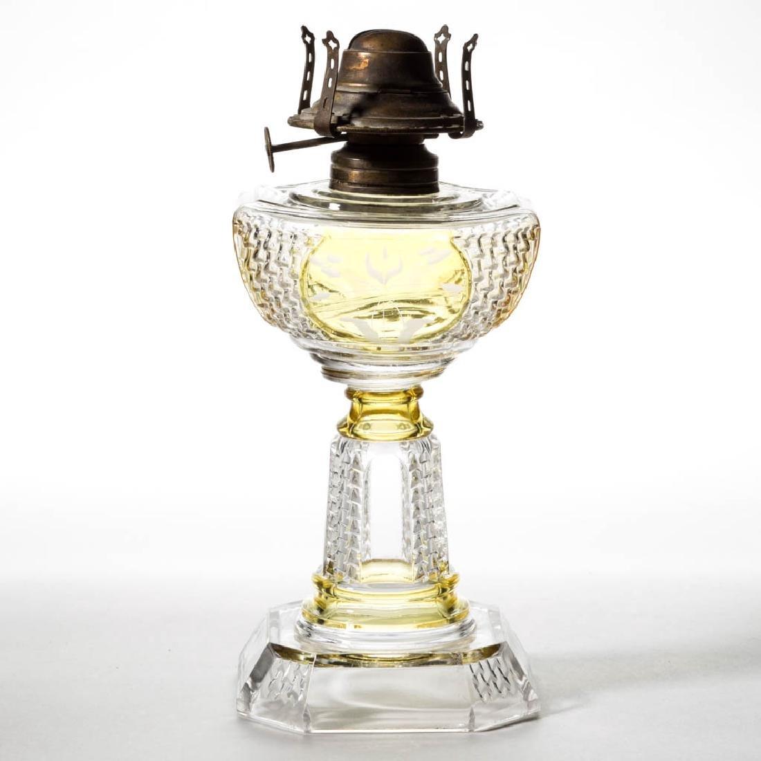 PICKET - AMBER-STAINED KEROSENE STAND LAMP