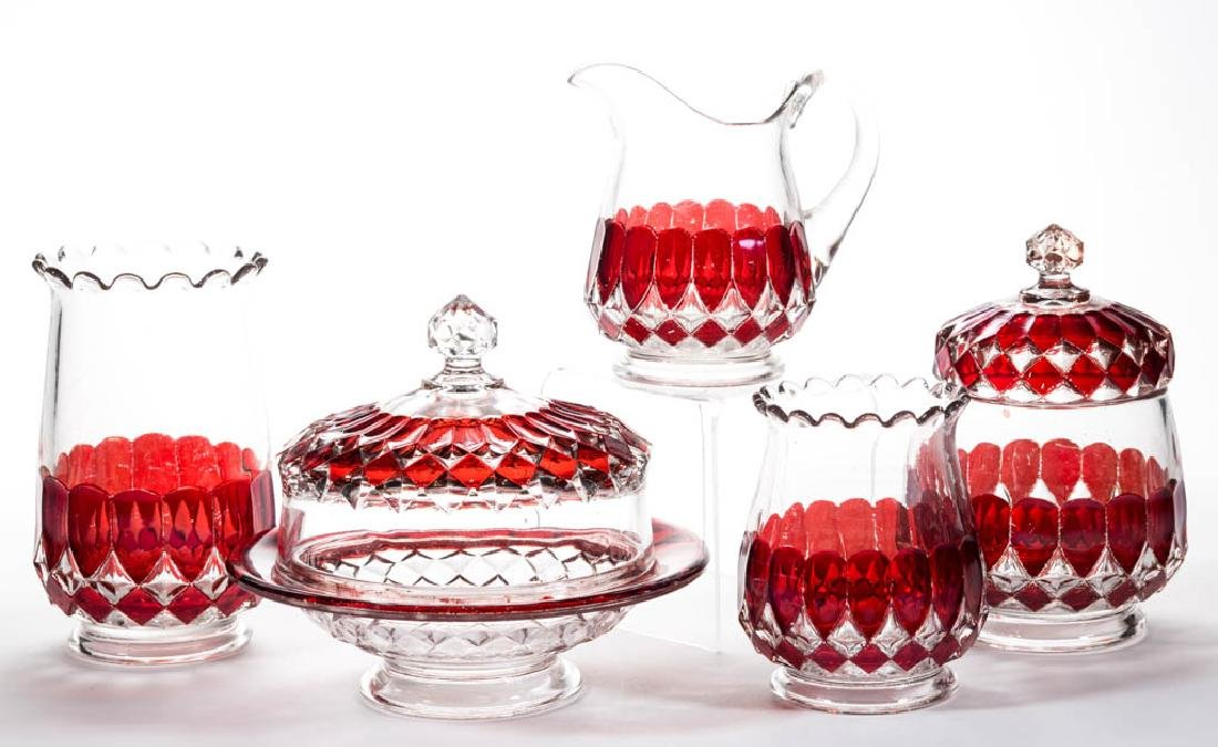 PIONEER'S VICTORIA - RUBY-STAINED FIVE-PIECE TABLE SET