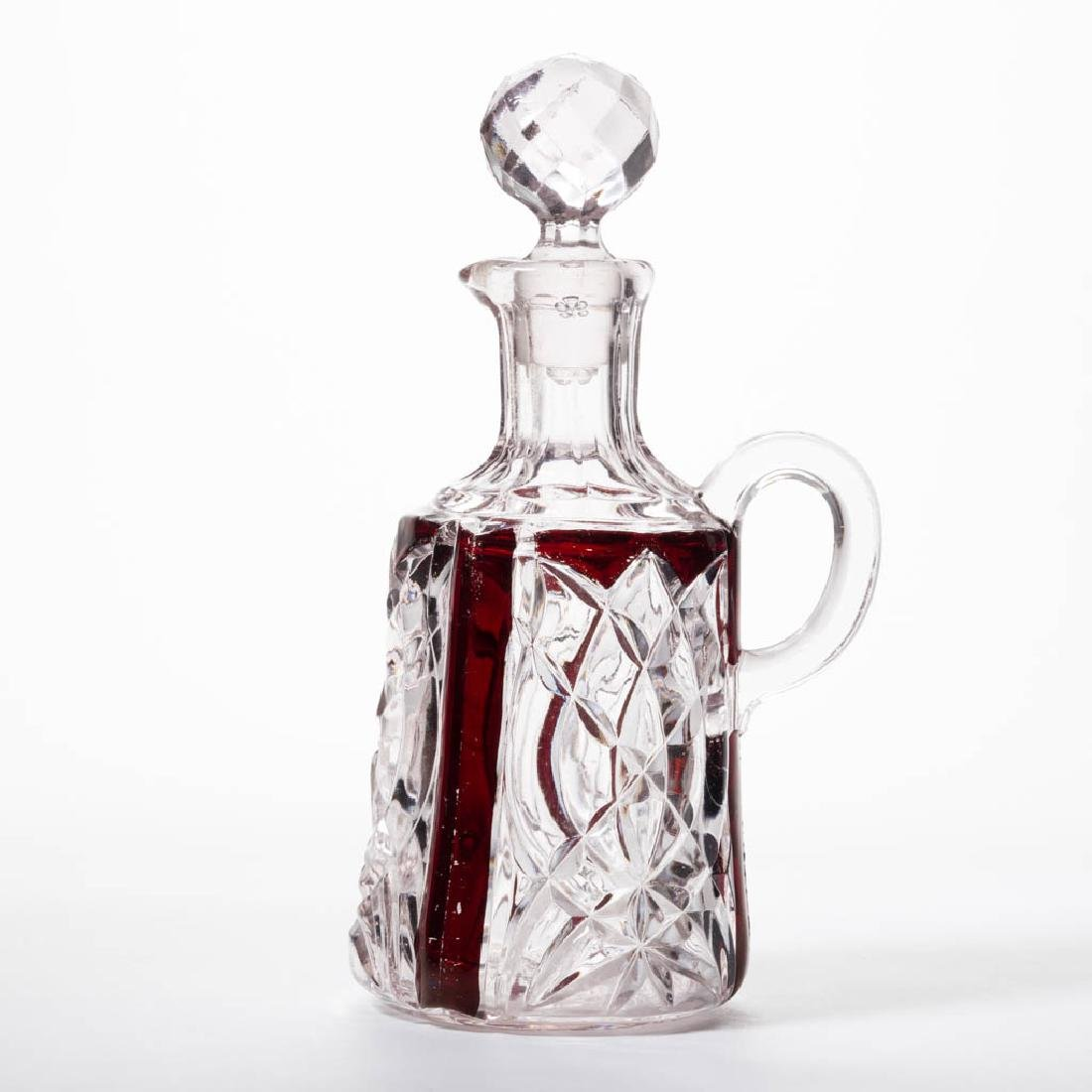 WIMPOLE - RUBY-STAINED CRUET / CATSUP DECANTER