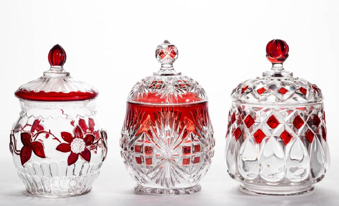 ASSORTED EAPG - RUBY-STAINED COVERED SUGAR BOWLS, LOT
