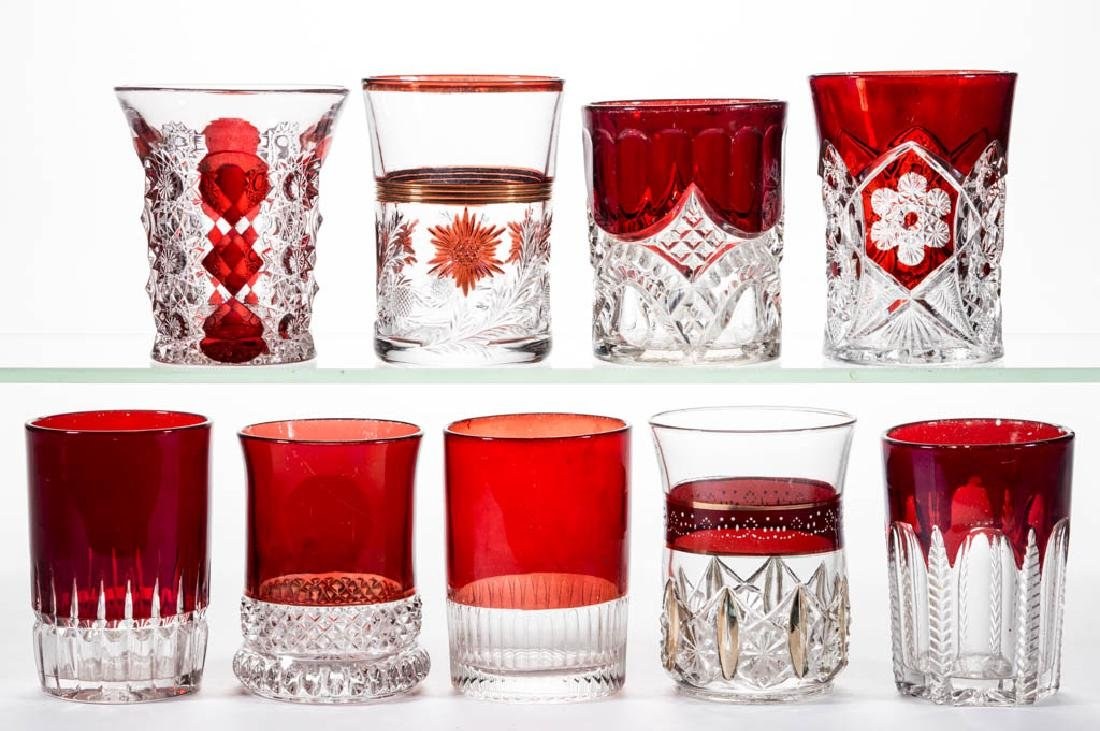 ASSORTED EAPG - RUBY-STAINED TUMBLERS, LOT OF NINE