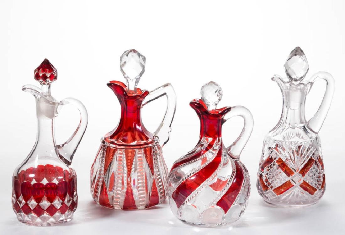 ASSORTED EAPG - RUBY-STAINED CRUETS, LOT OF FOUR