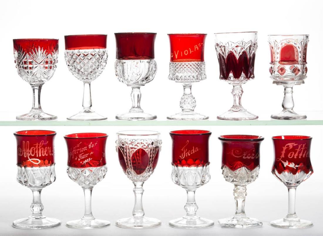 ASSORTED EAPG - RUBY-STAINED WINES, LOT OF 12