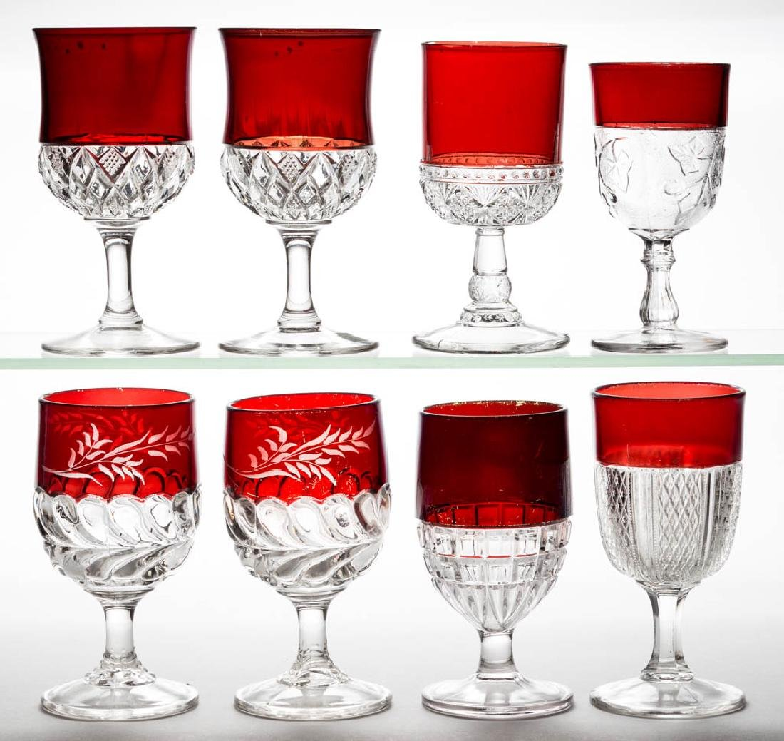 ASSORTED EAPG - RUBY-STAINED GOBLETS, LOT OF EIGHT