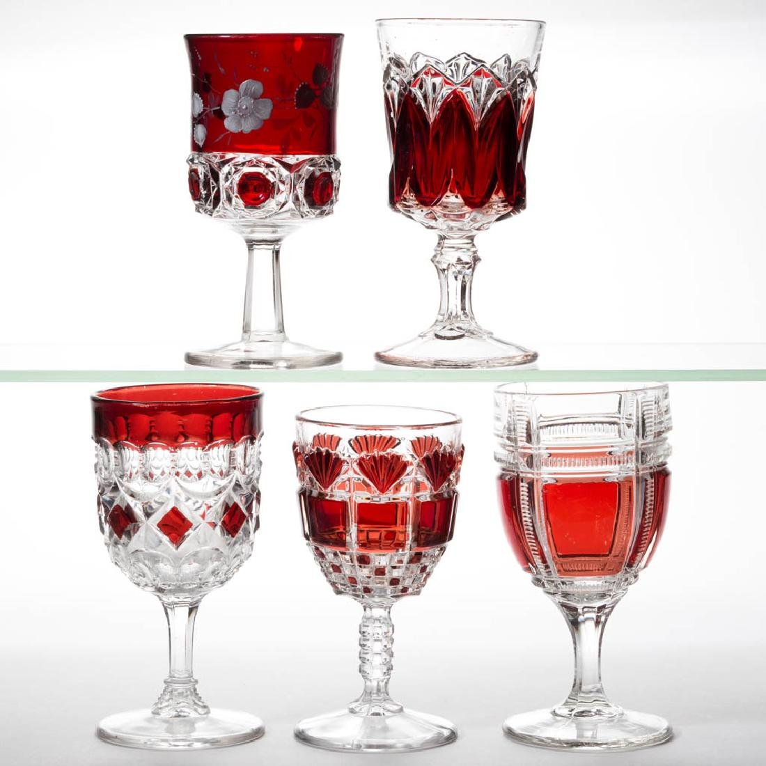 ASSORTED EAPG - RUBY-STAINED GOBLETS, LOT OF FIVE