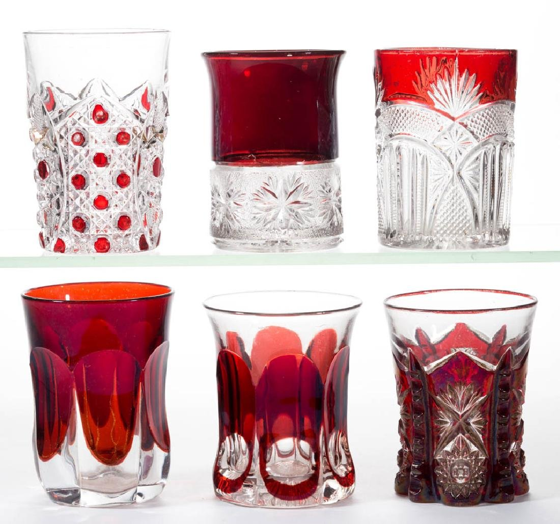 ASSORTED EAPG - RUBY-STAINED TUMBLERS, LOT OF SIX