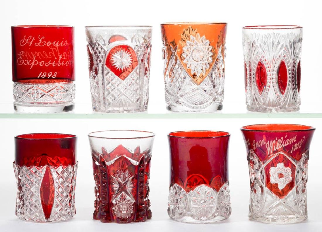 ASSORTED EAPG - RUBY-STAINED TUMBLERS, LOT OF EIGHT