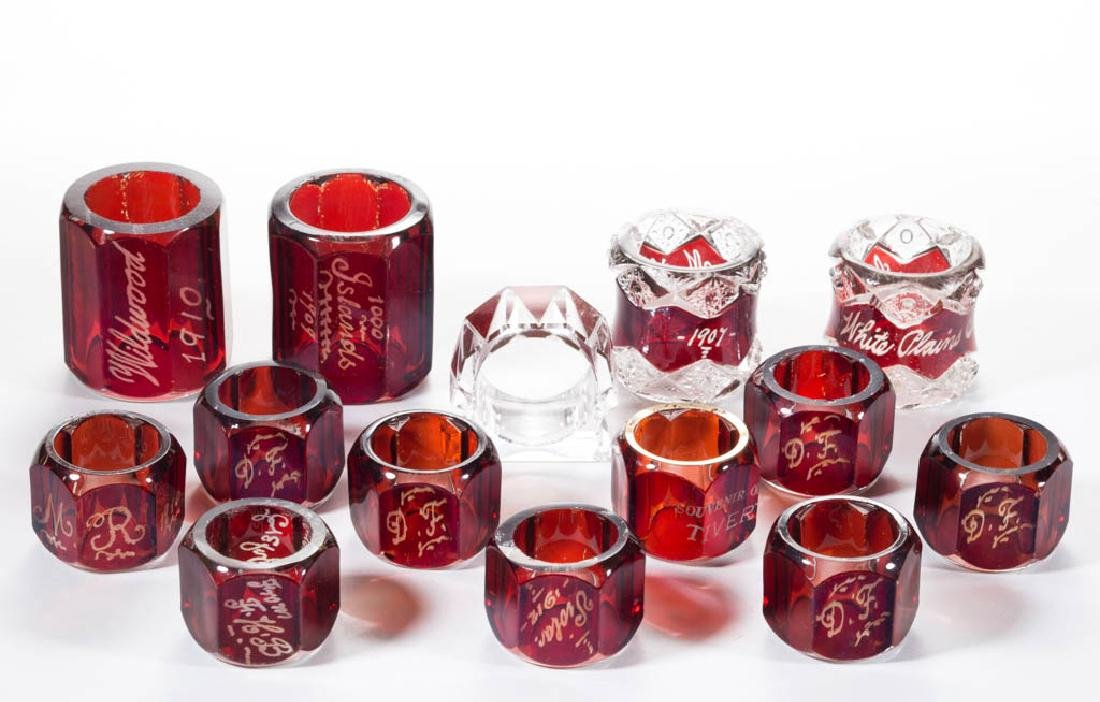 ASSORTED EAPG - RUBY-STAINED NAPKIN RINGS, LOT OF
