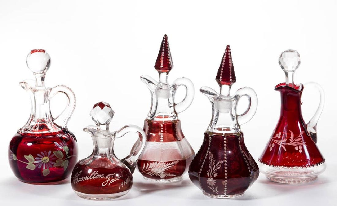 ASSORTED EAPG - RUBY-STAINED CRUETS, LOT OF FIVE