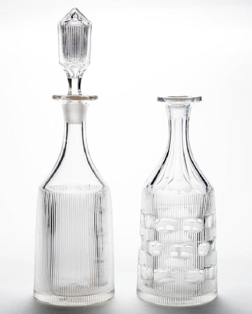 FINE RIB / REEDED (OMN) QUART DECANTERS, LOT OF TWO