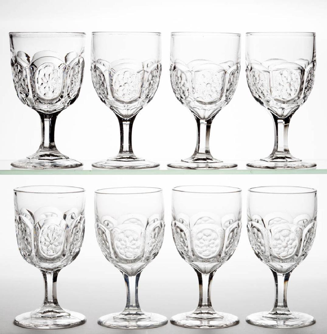 FLOWERED OVALS GOBLETS, LOT OF EIGHT