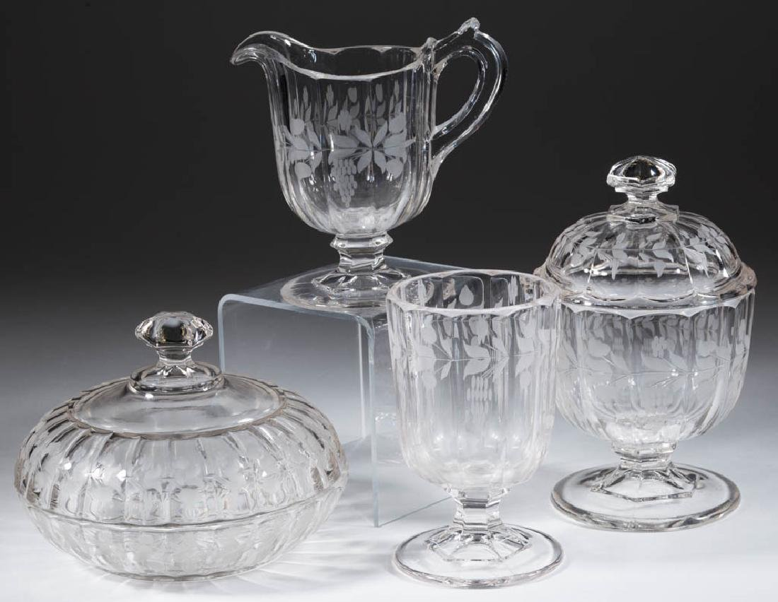 HUBER / CRYSTAL - ENGRAVED FOUR-PIECE TABLE SET