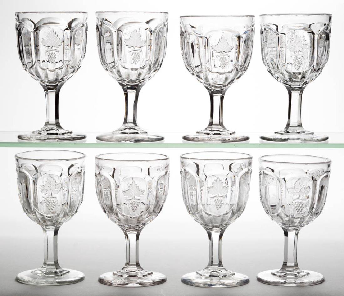 OVAL PANELLED FROSTED GRAPE GOBLETS, LOT OF EIGHT