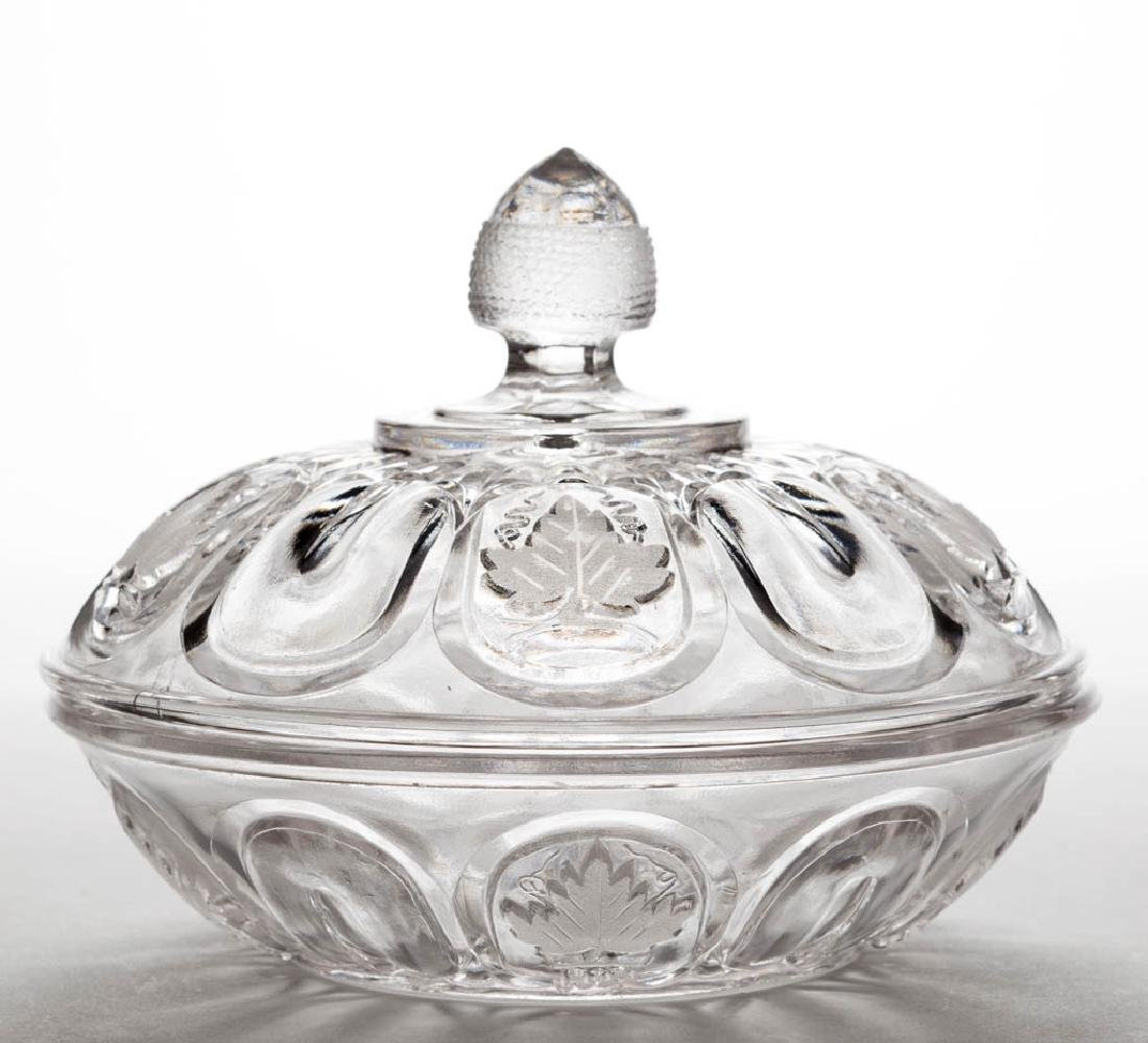 OVAL PANELLED FROSTED GRAPE COVERED BUTTER DISH