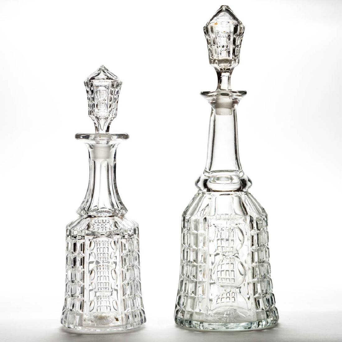 WAFFLE AND THUMBPRINT / PALACE (OMN) DECANTERS, LOT OF