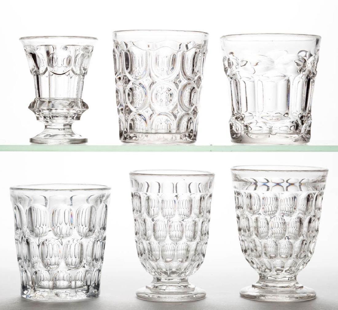 ASSORTED FLINT EAPG DRINKING ARTICLES, LOT OF SIX