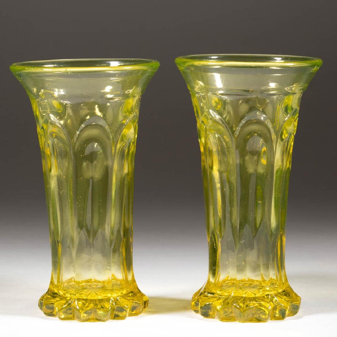 UNIDENTIFIED PRESSED FLINT GLASS PAIR OF VASES