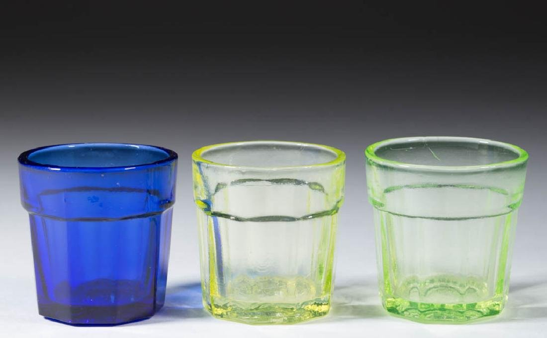 PRESSED PANELLED TOY TUMBLERS, LOT OF THREE