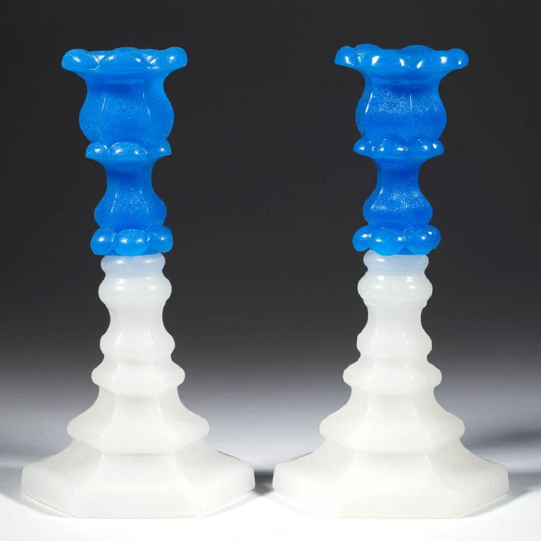 PRESSED PETAL AND HEXAGONAL-BASE PAIR OF CANDLESTICKS