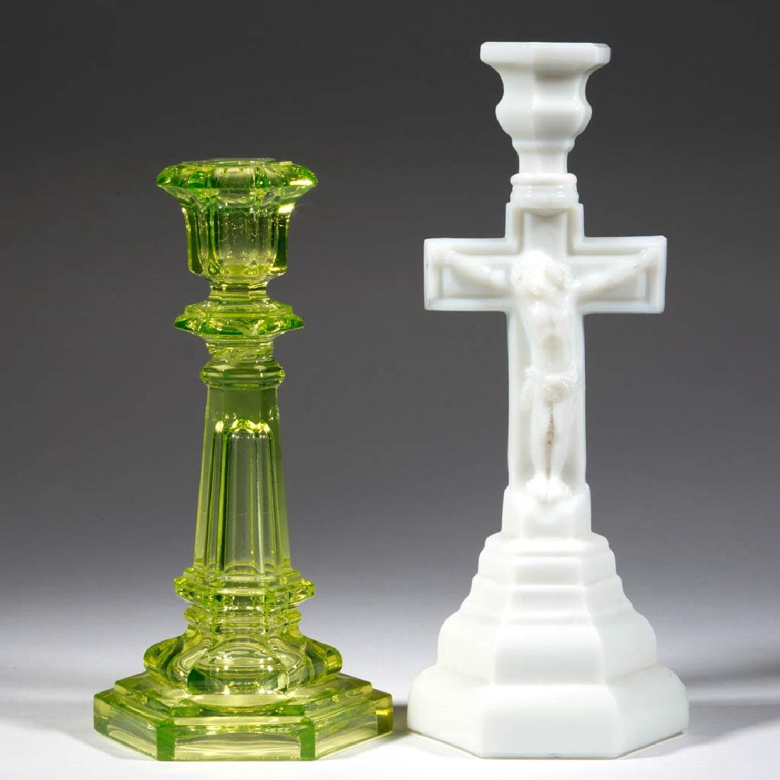 ASSORTED PRESSED CANDLESTICKS, LOT OF TWO