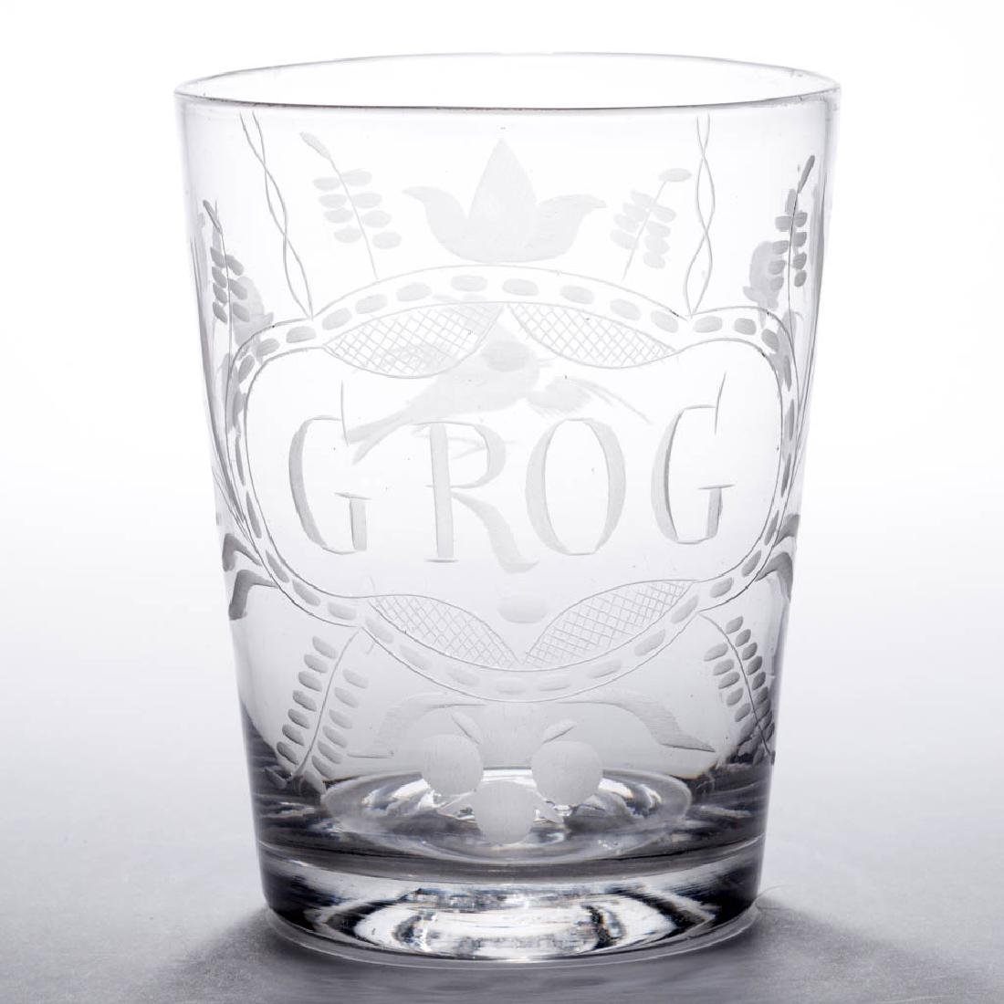 FREE-BLOWN AND ENGRAVED FLIP GLASS