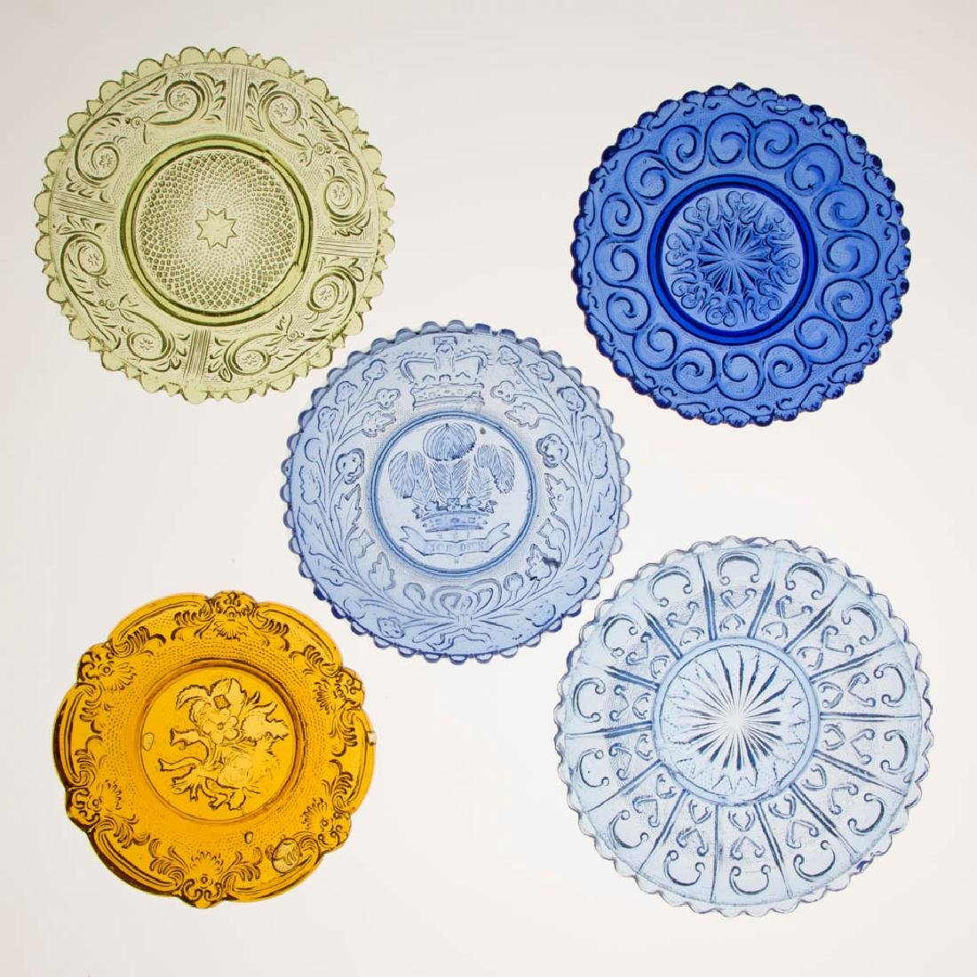 ASSORTED PRESSED LACY DISHES, LOT OF FIVE