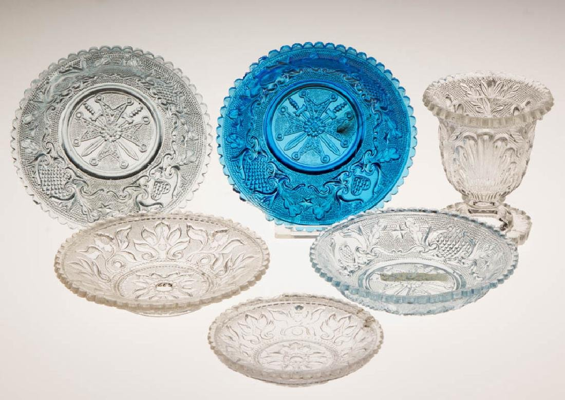 ASSORTED PRESSED LACY ARTICLES, LOT OF SIX