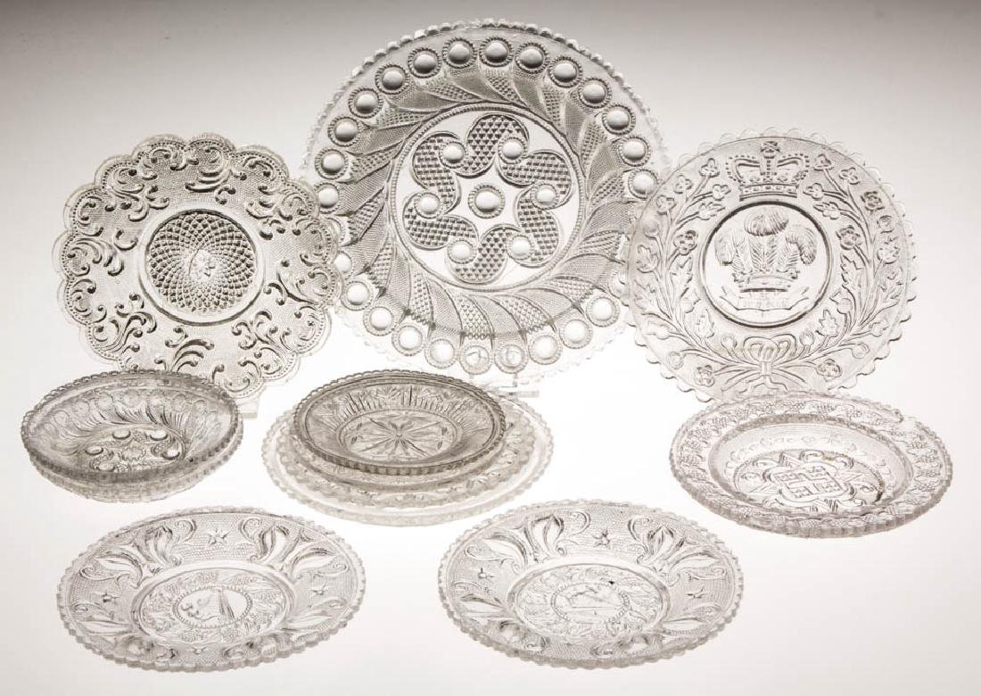 ASSORTED PRESSED LACY TABLE ARTICLES, LOT OF 12