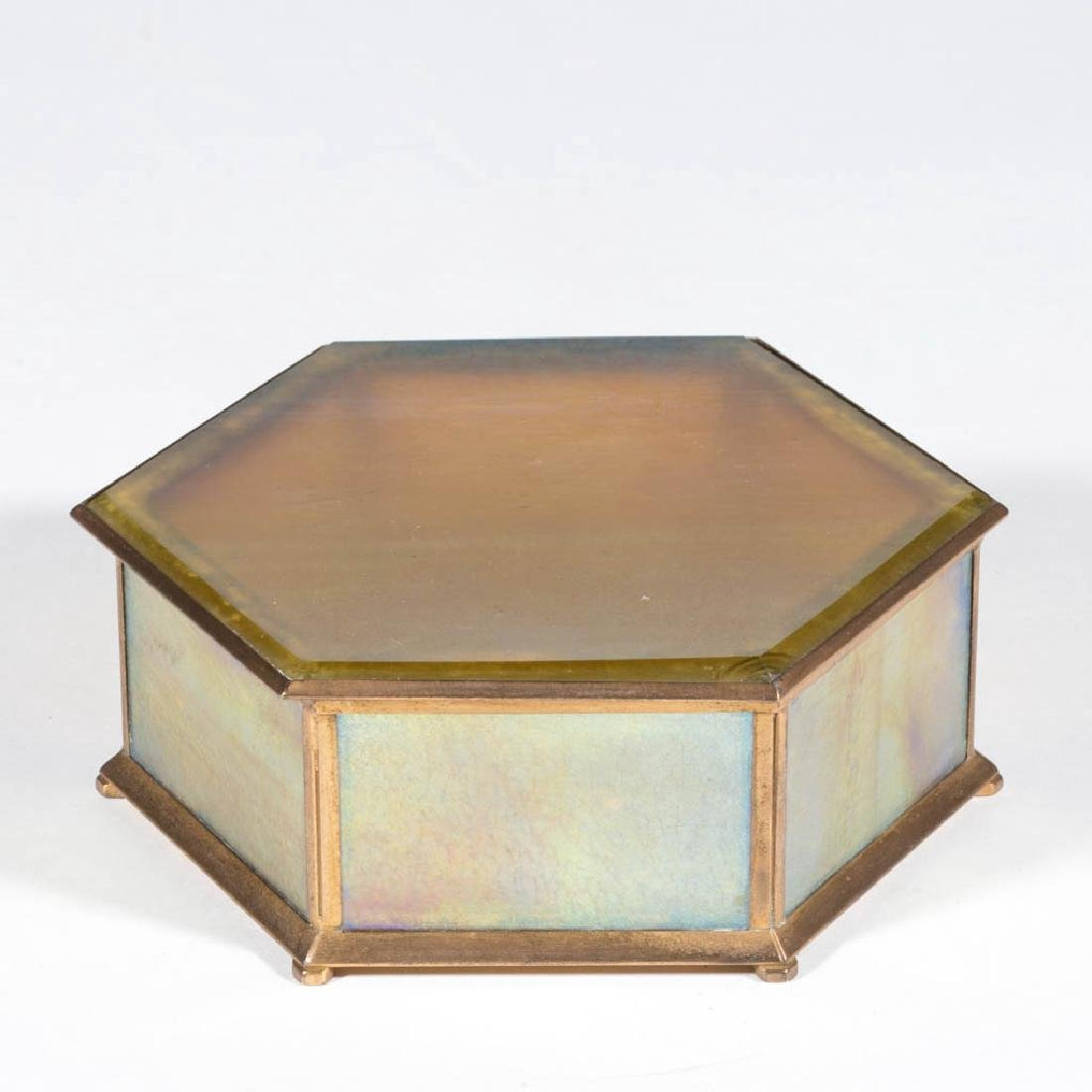 TIFFANY STUDIOS / FURNACES IRIDESCENT GLASS AND BRONZE