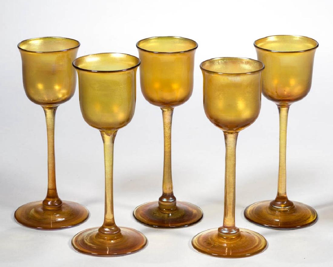 TIFFANY FAVRILE ART GLASS CORDIALS, LOT OF FIVE