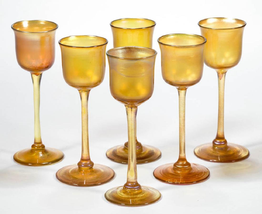 TIFFANY FAVRILE ART GLASS CORDIALS, LOT OF SIX