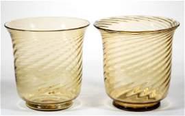 STEUBEN ART GLASS SWIRL RIBBED PAIR OF VASES