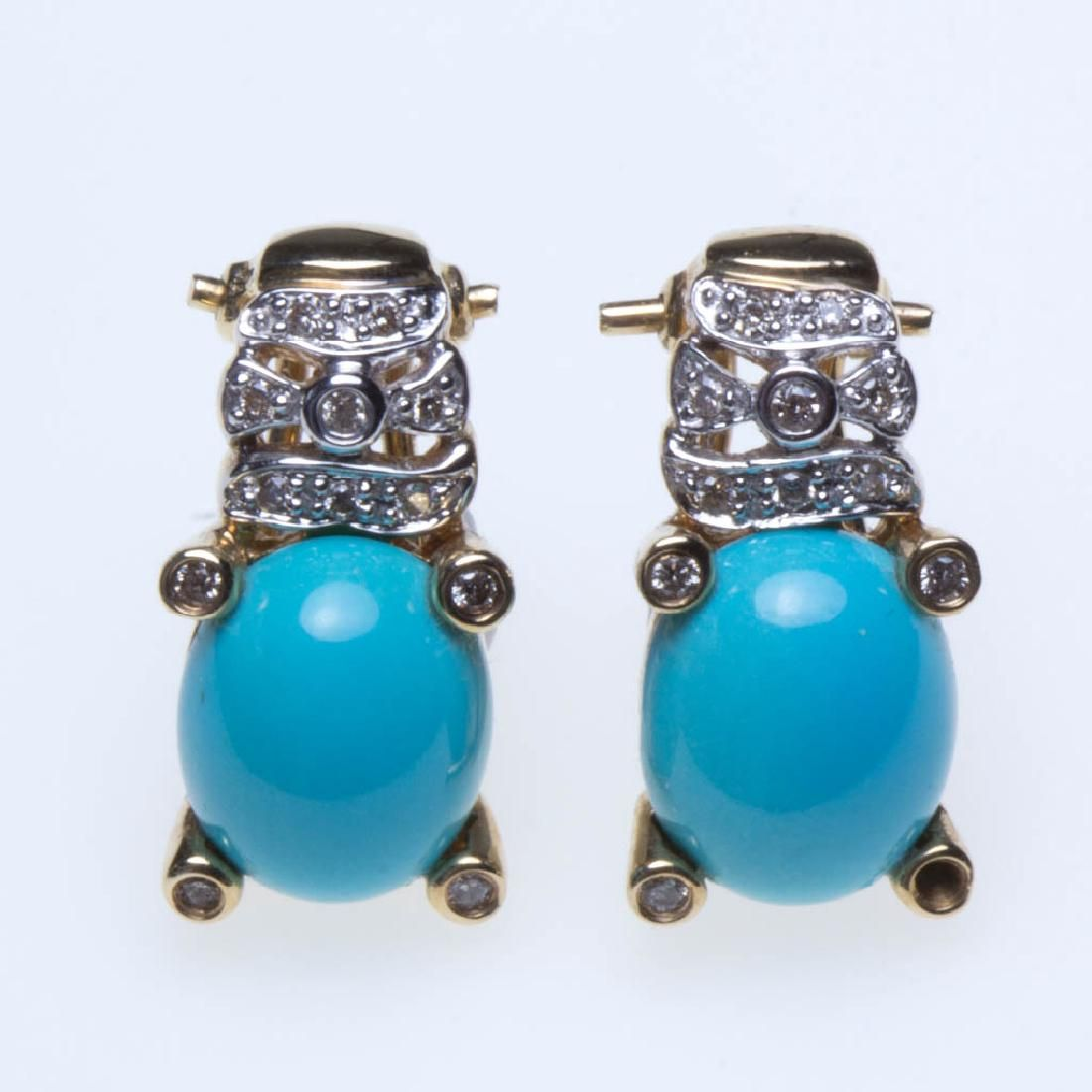 LE VIAN 14K GOLD, DIAMOND, AND TURQUOISE PAIR OF