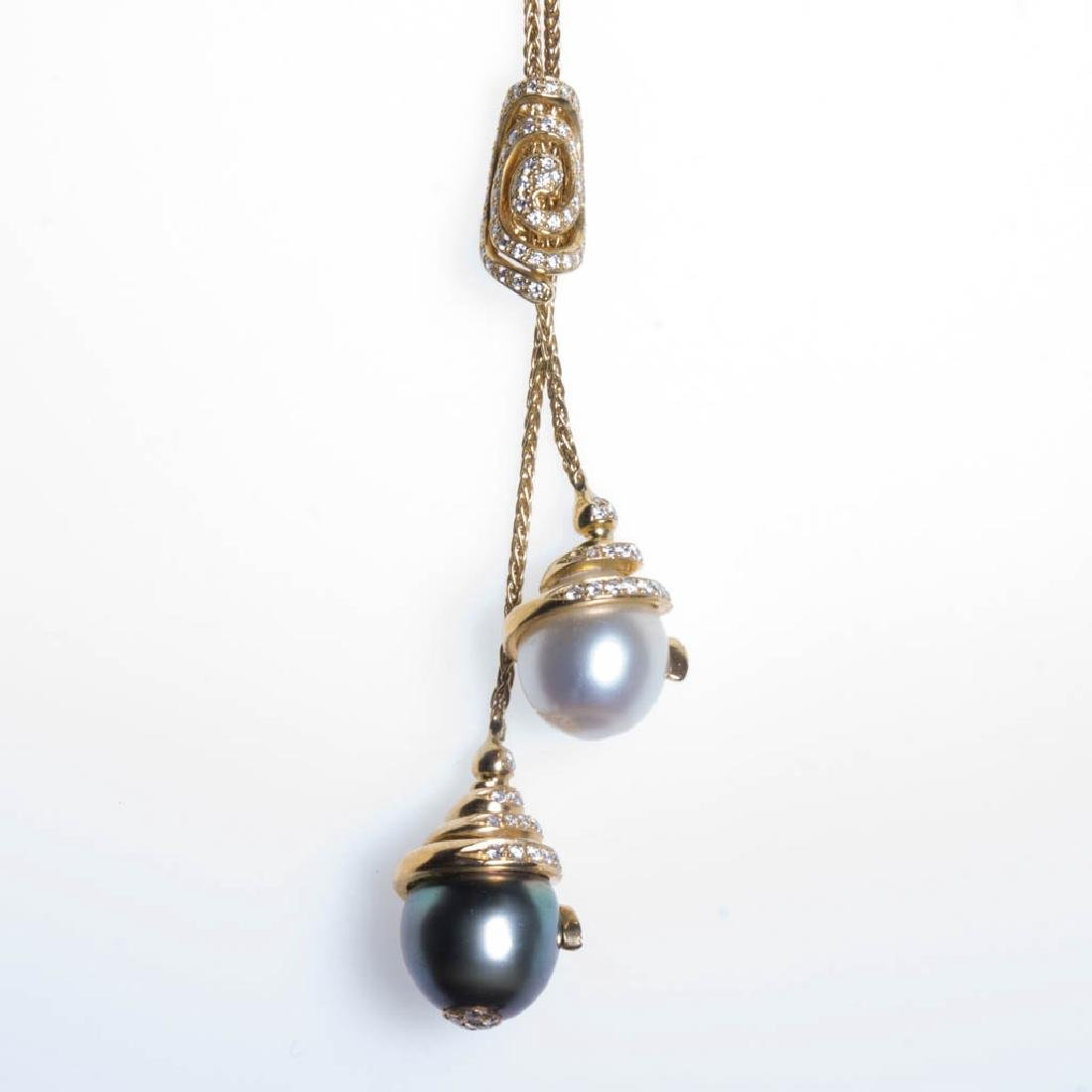 YVEL 18K GOLD, DIAMOND, AND PEARL NECKLACE