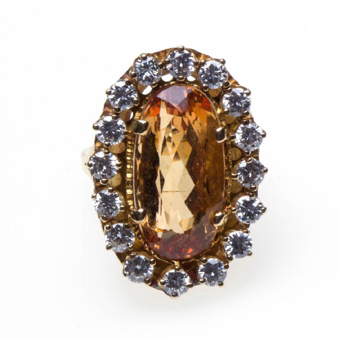 VINTAGE 18K GOLD, DIAMOND, AND IMPERIAL TOPAZ RING