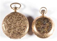 ELGIN 14K GOLD MAN'S POCKET WATCHES, LOT OF TWO