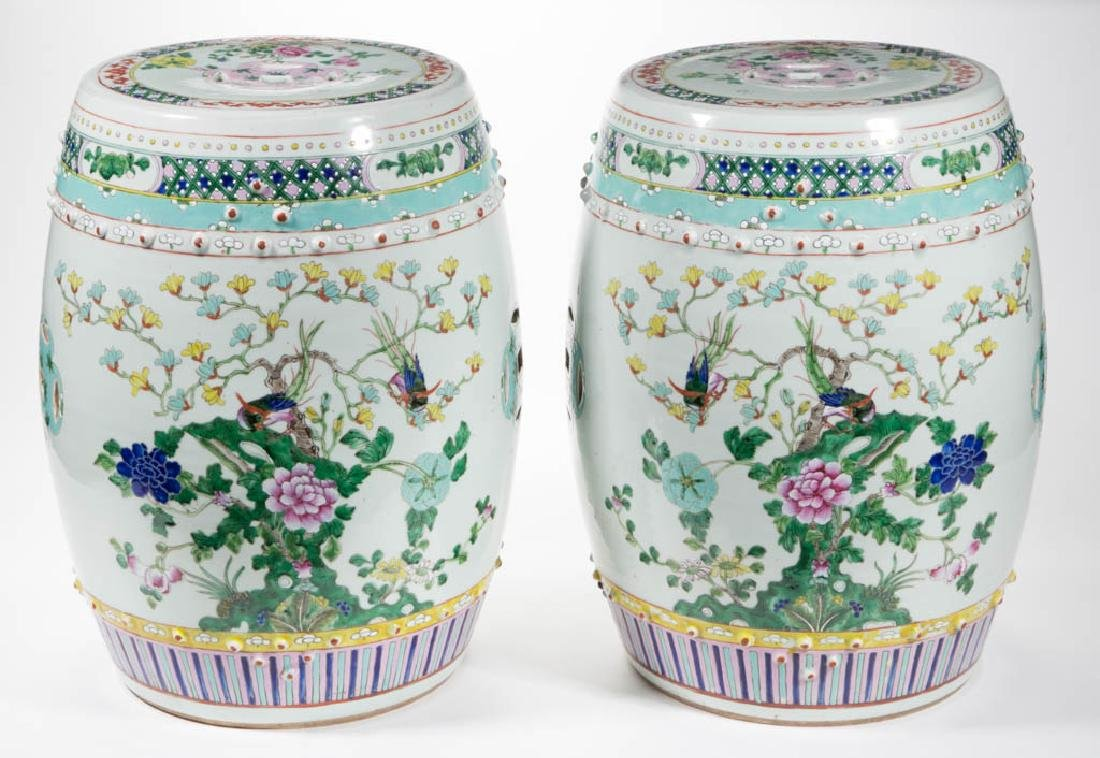 CHINESE EXPORT PORCELAIN PAIR OF GARDEN