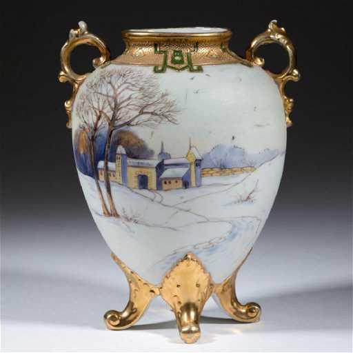 Nippon Porcelain Footed New England Winter Vase