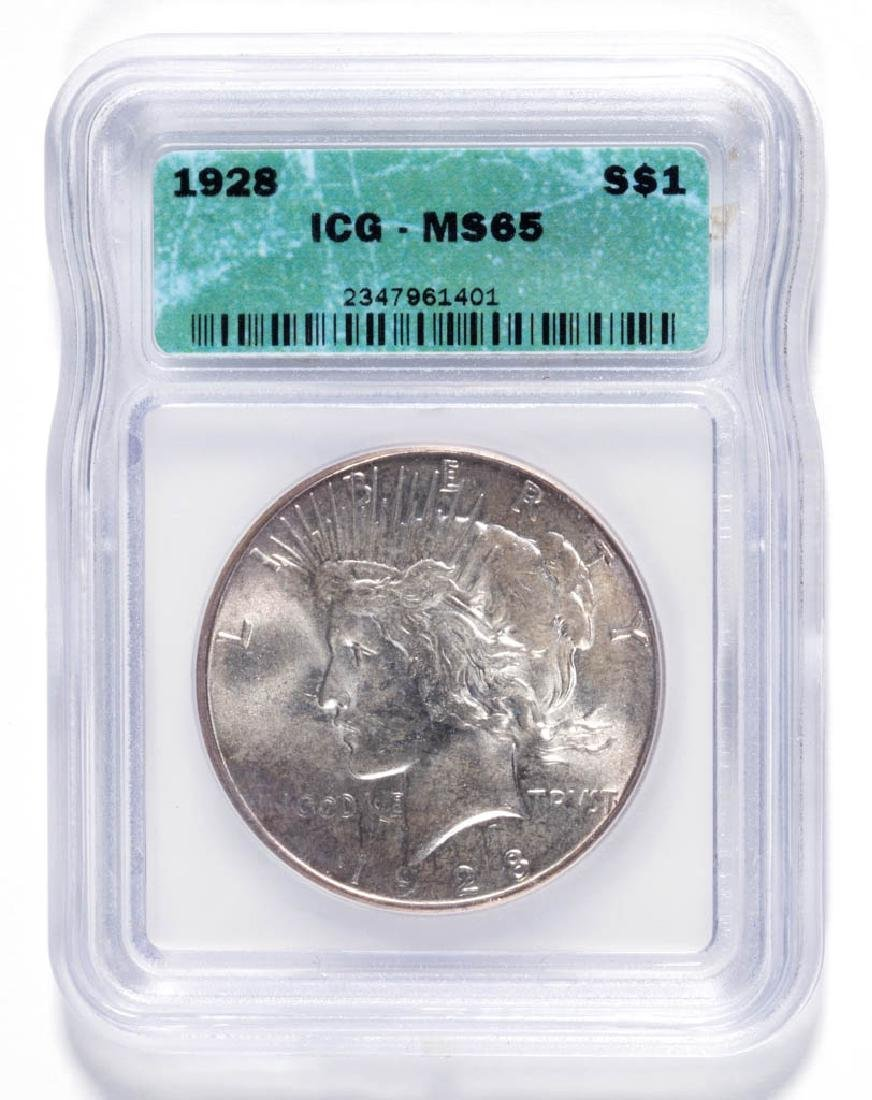 UNITED STATES SILVER 1928 MS65 S$1 PEACE DOLLAR COIN